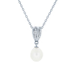 (100016) 8-8.5mm Freshwater Cultured Pearl White Cubic Zirconia Pendant Necklace In Sterling Silver