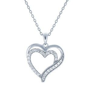 (100017) White Cubic Zirconia Heart Pendant Necklace In Sterling Silver