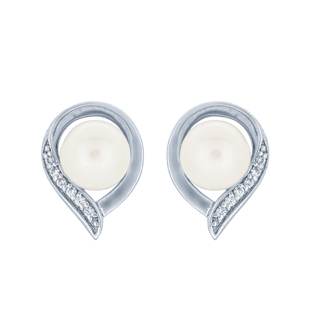 (100019) 6-6.5mm Freshwater Cultured Pearl White Cubic Zirconia Stud Earrings In Sterling Silver