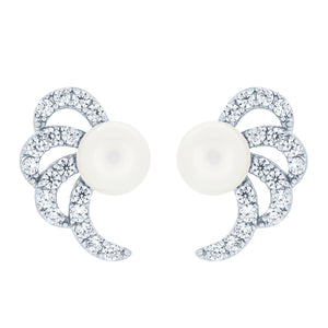 (100022) 6-6.5mm Freshwater Cultured Pearl White Cubic Zirconia Stud Earrings In Sterling Silver