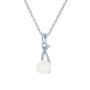 (100025) 7-7.5mm Freshwater Cultured Pearl White Cubic Zirconia Pendant Necklace In Sterling Silver