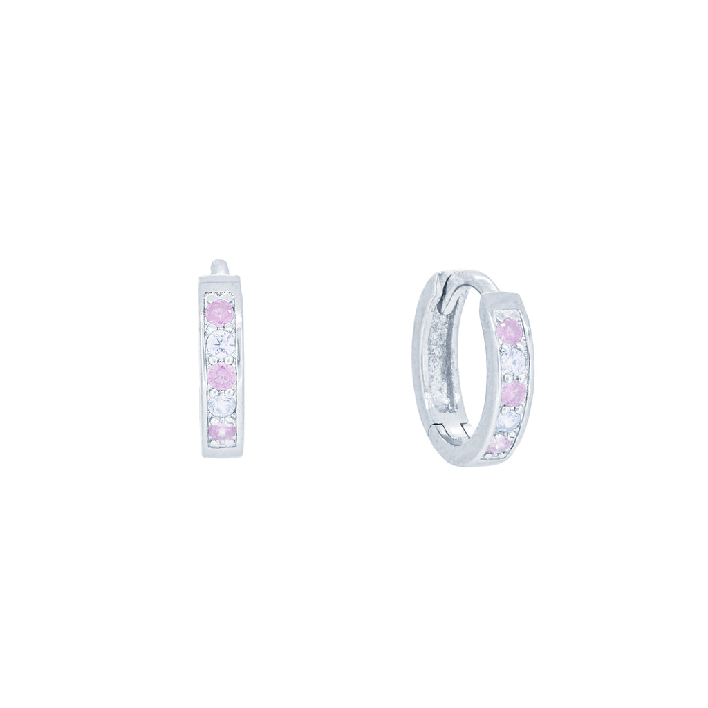 (100030) Simulated Pink Sapphire & White Cubic Zirconia 12mm Hoop Earrings In Sterling Silver
