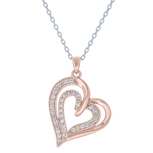 (100033A) White Cubic Zirconia Heart Pendant Necklace In Sterling Silver and Rose Gold Plate