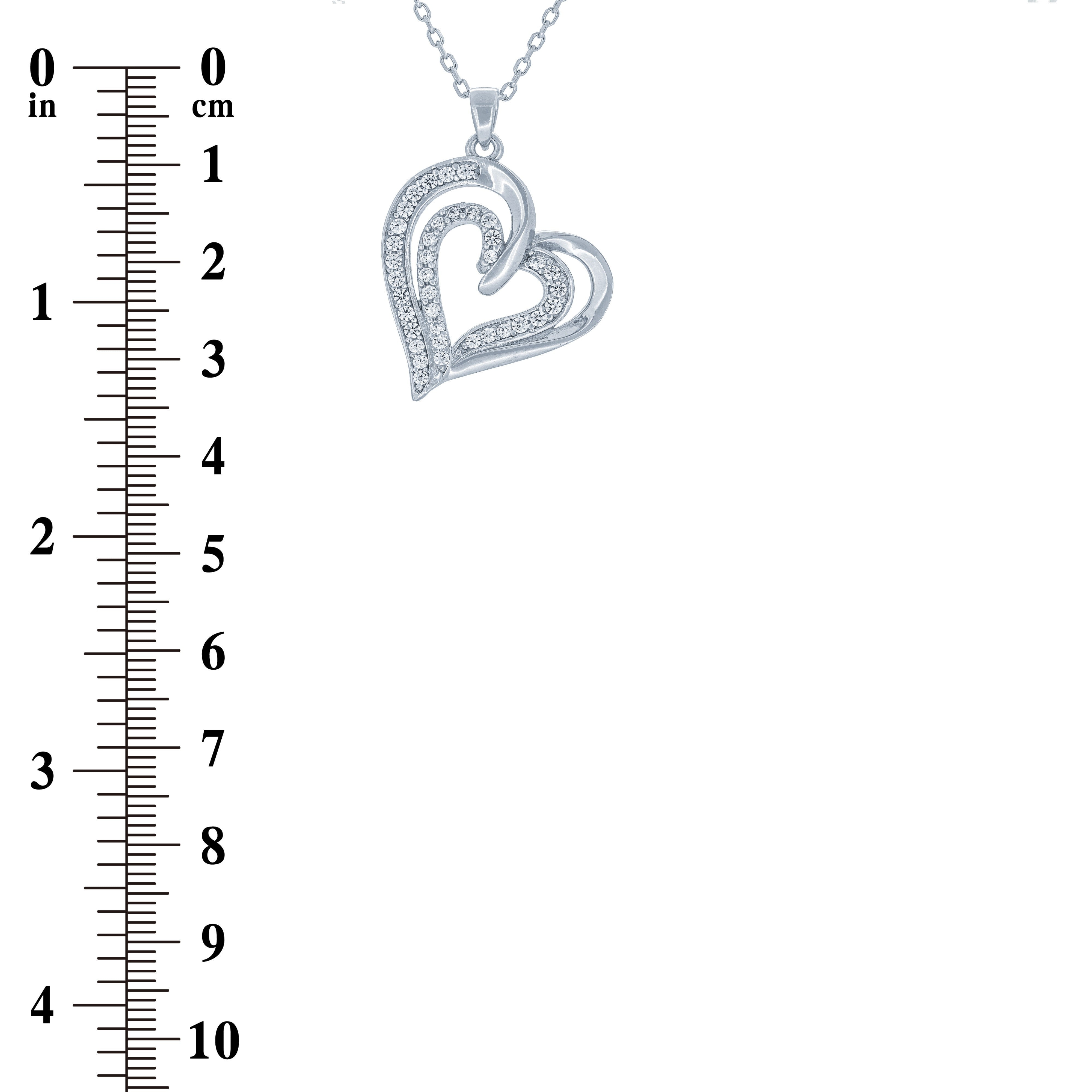 (100033) White Cubic Zirconia Heart Pendant Necklace In Sterling Silver