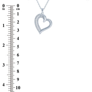 (100034) White Cubic Zirconia Heart Pendant Necklace In Sterling Silver