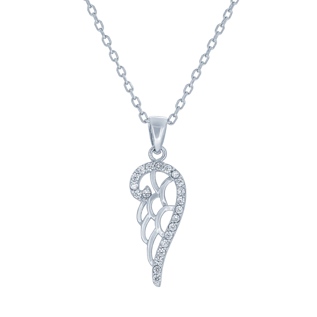 (100035) White Cubic Zirconia Angel Wing Pendant Necklace In Sterling Silver