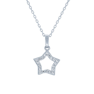 (100036) White Cubic Zirconia Star Pendant Necklace In Sterling Silver