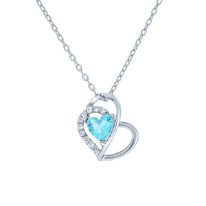 (100037) Simulated Aquamarine & White Cubic Zirconia Heart Pendant Necklace In Sterling Silver