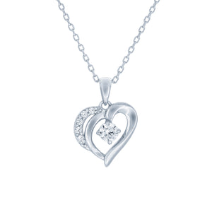 (100039) White Cubic Zirconia Heart Pendant Necklace In Sterling Silver