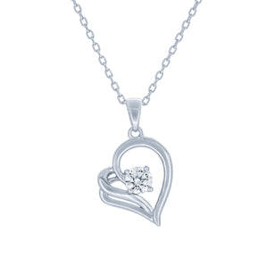 (100041) White Cubic Zirconia Heart Pendant Necklace In Sterling Silver