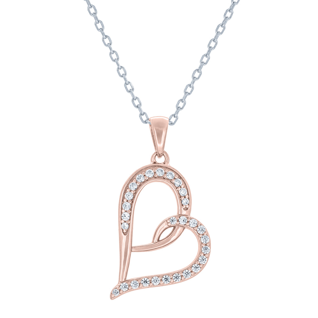 (100042A) White Cubic Zirconia Heart Pendant Necklace In Sterling Silver and Rose Gold Plate