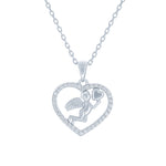 (100044) White Cubic Zirconia Angel Heart Pendant Necklace In Sterling Silver