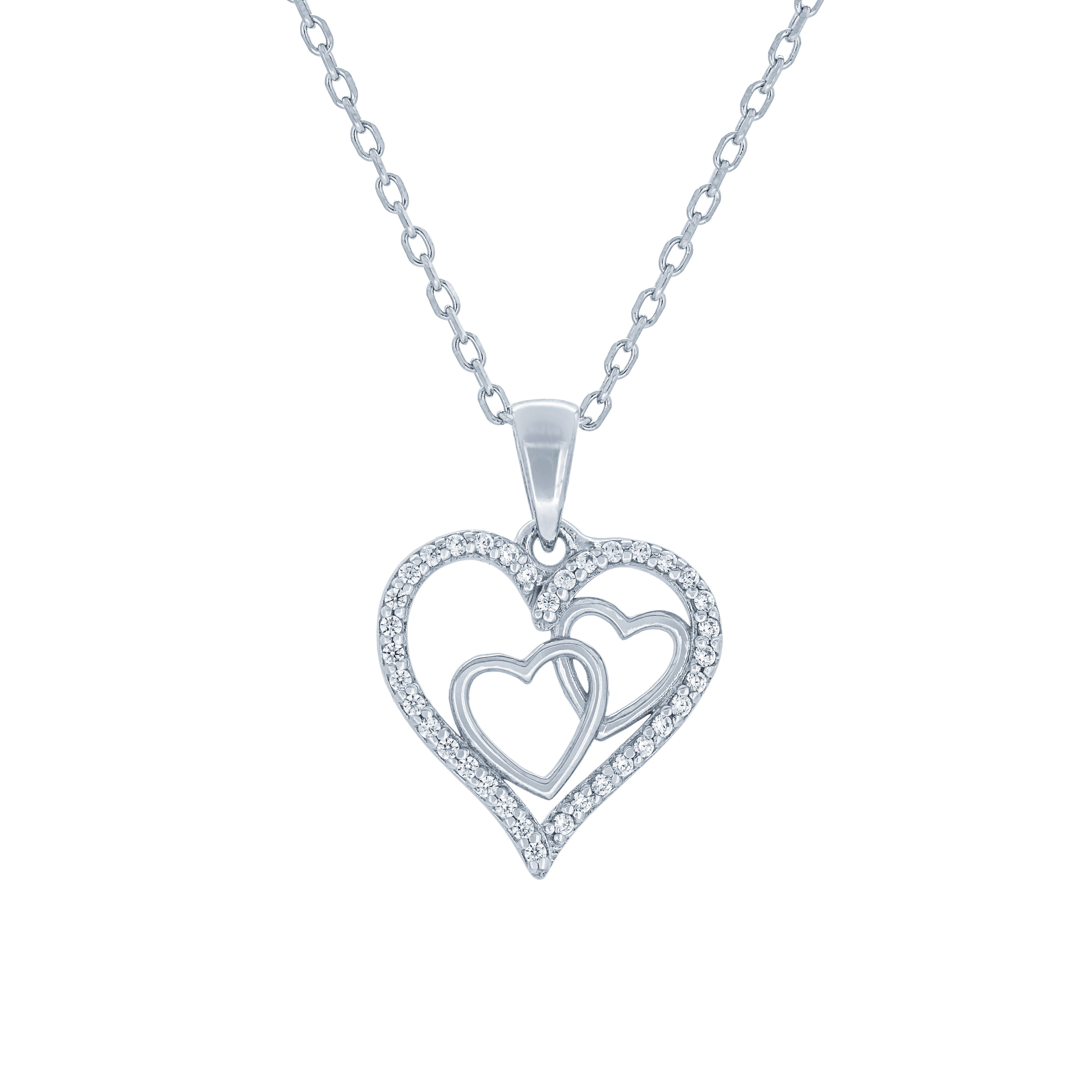 (100045) White Cubic Zirconia Heart Pendant Necklace In Sterling Silver