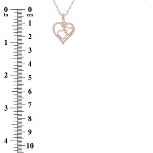(100045A) White Cubic Zirconia Heart Pendant Necklace In Sterling Silver and Rose Gold Plate