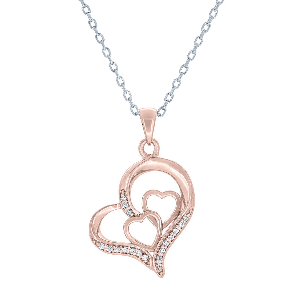 (100046A) White Cubic Zirconia Heart Pendant Necklace In Sterling Silver and Rose Gold Plate