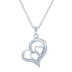 (100046) White Cubic Zirconia Heart Pendant Necklace In Sterling Silver