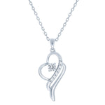 (100047) White Cubic Zirconia Heart Pendant Necklace In Sterling Silver