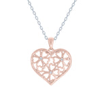 (100048A) White Cubic Zirconia Flower Pendant Necklace In Sterling Silver And Rose Gold Plate