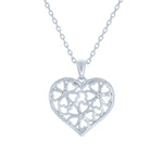 (100048) White Cubic Zirconia Flower Pendant Necklace In Sterling Silver