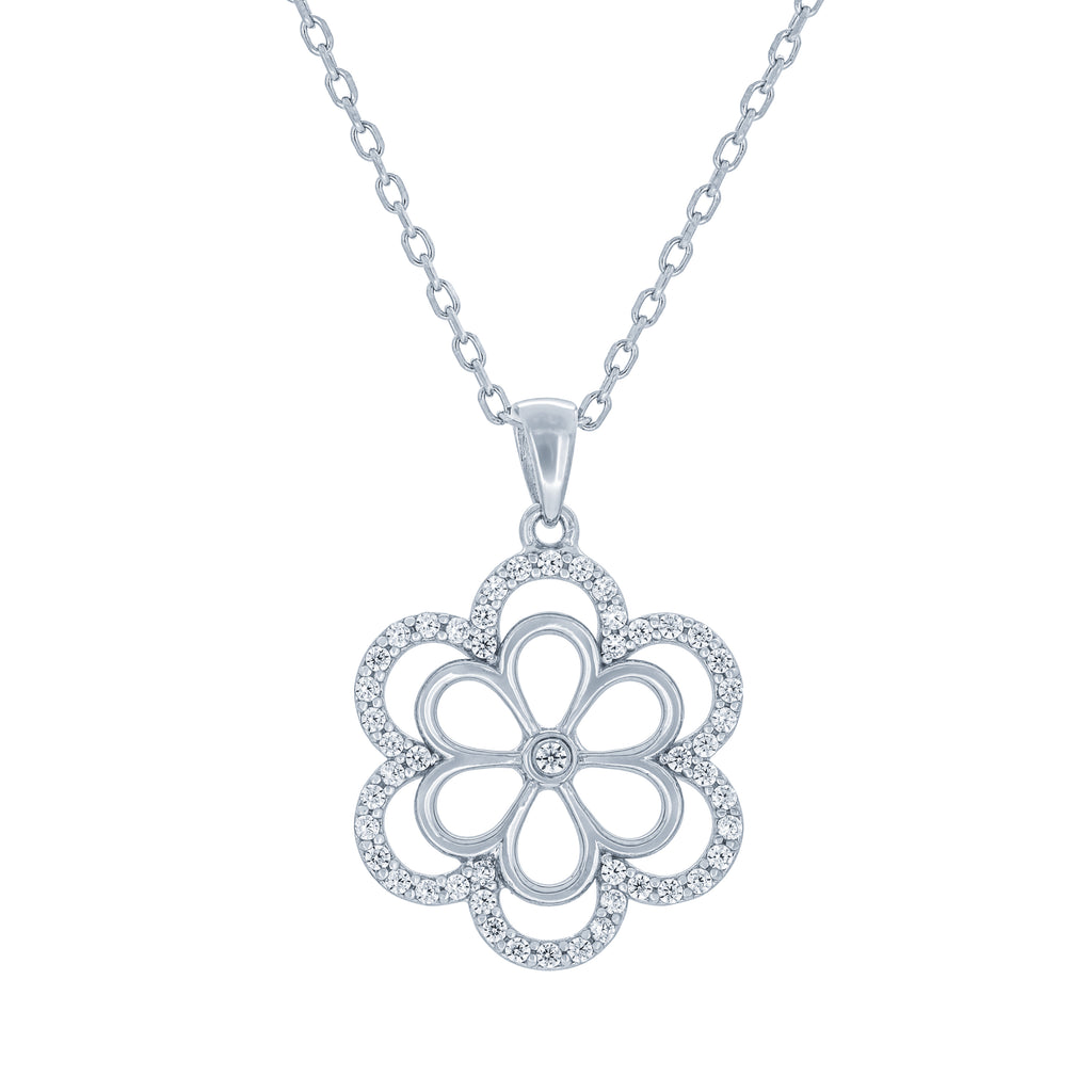 (100049) White Cubic Zirconia Flower Pendant Necklace In Sterling Silver
