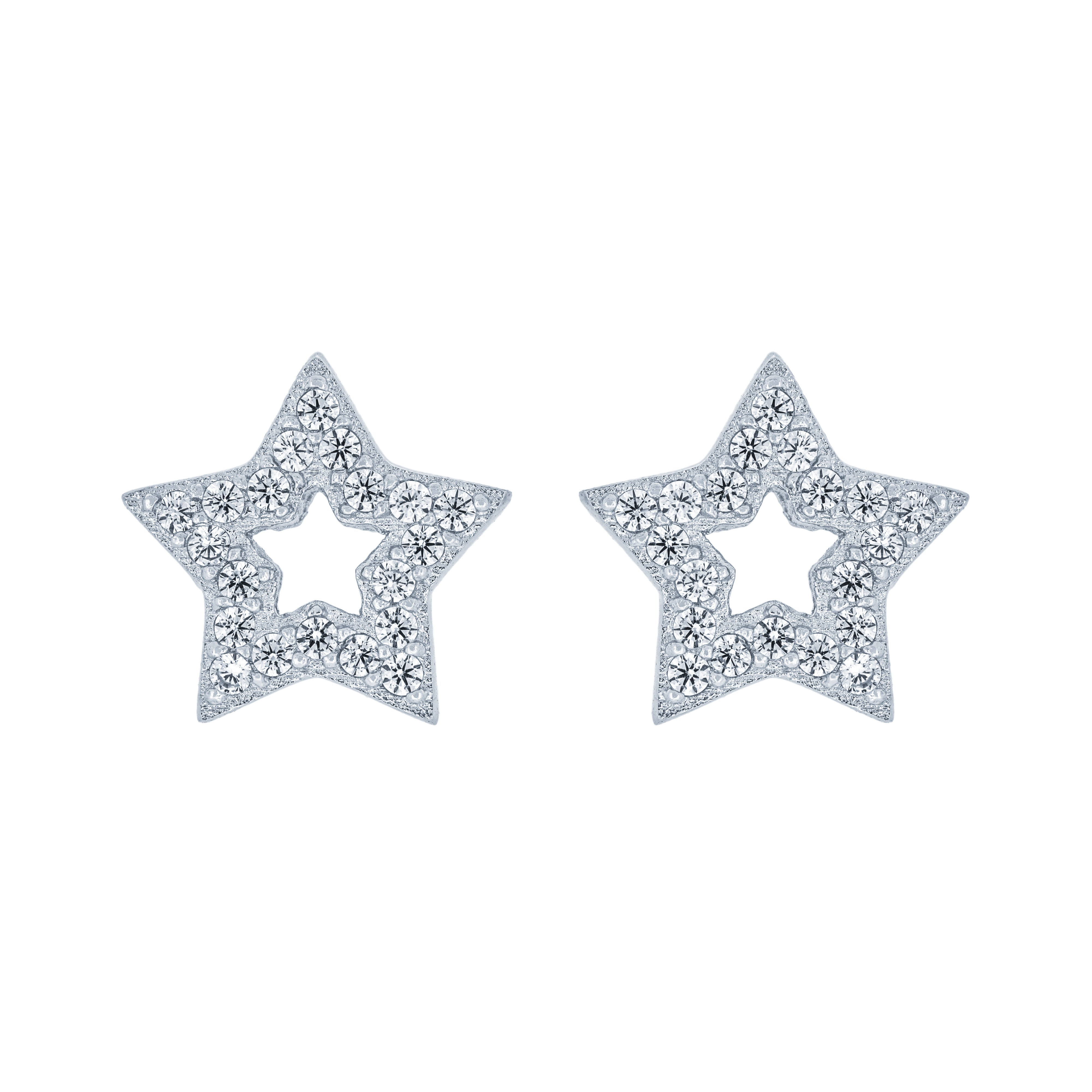 (100052) White Cubic Zirconia Star Stud Earrings In Sterling Silver