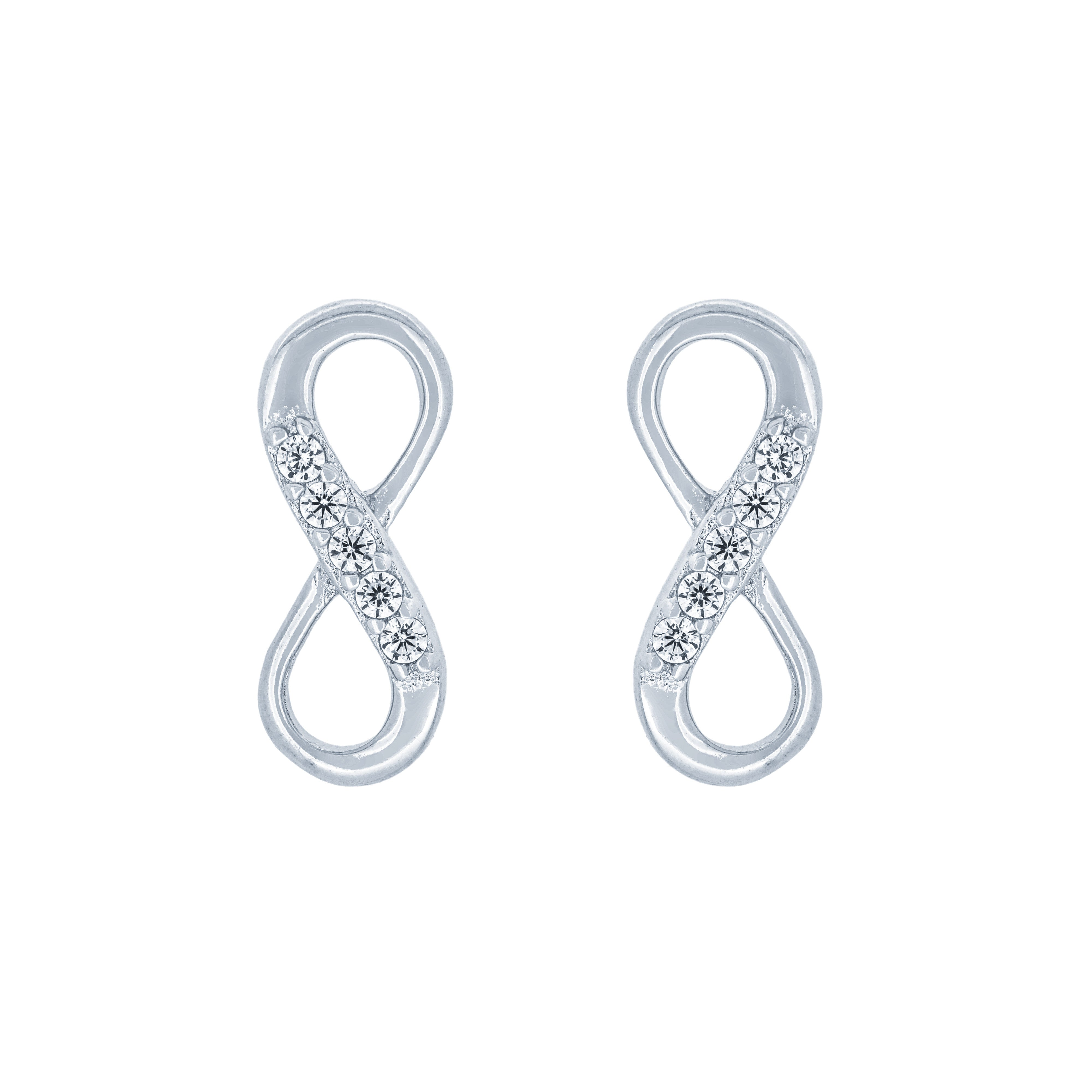 (100054) White Cubic Zirconia Infinity Stud Earrings In Sterling Silver