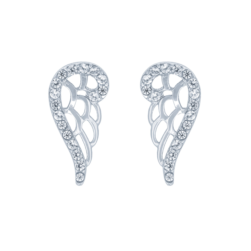 (100055) White Cubic Zirconia Angel Wing Stud Earrings In Sterling Silver
