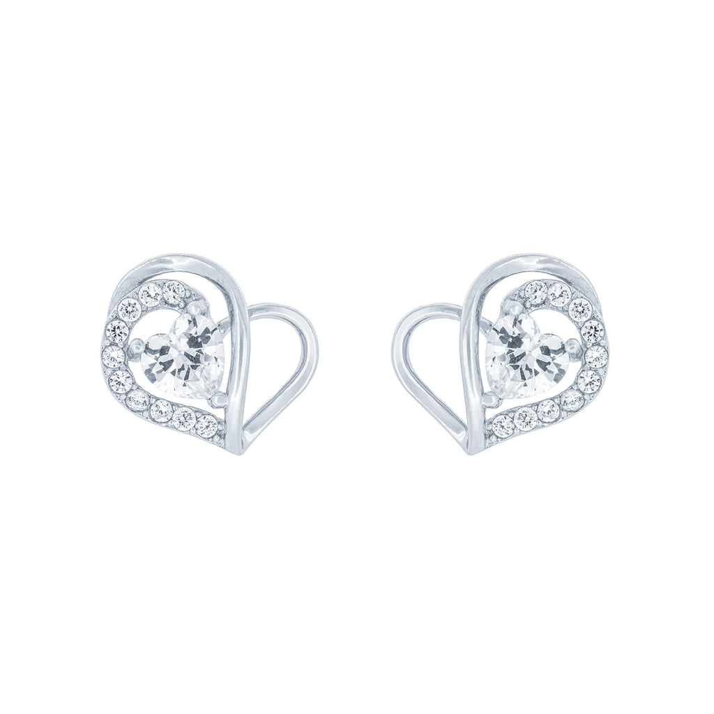 (100056) White Cubic Zirconia Heart Stud Earrings In Sterling Silver