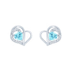 (100057) Simulated Aquamarine & White Cubic Zirconia Heart Stud Earrings In Sterling Silver