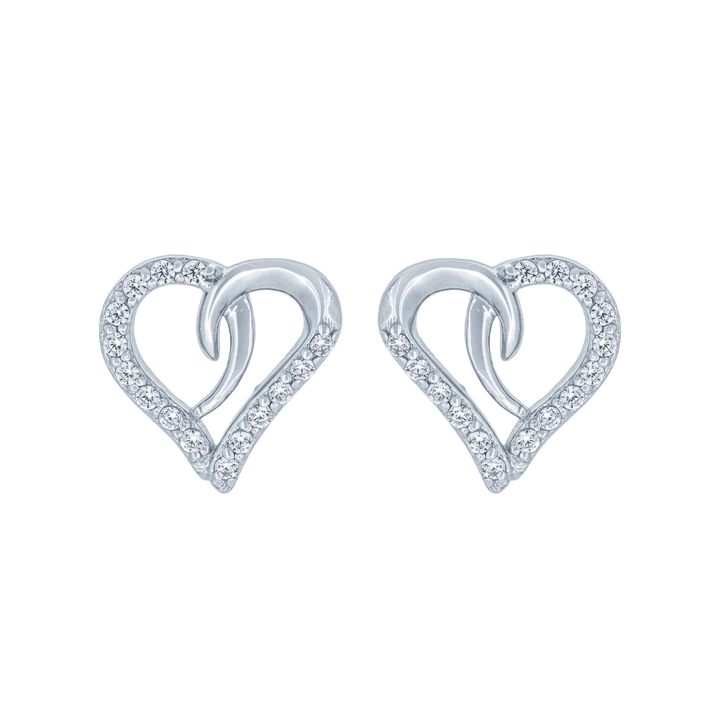 (100058) White Cubic Zirconia Heart Earrings In Sterling Silver