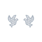 (100059) White Cubic Zirconia Bird Earrings In Sterling Silver
