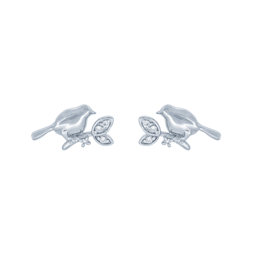 (100060) White Cubic Zirconia Bird Earrings In Sterling Silver