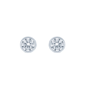 (100061) Round Cut 6mm White Cubic Zirconia Stud Earrings In Sterling Silver