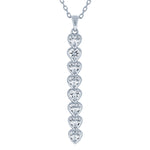 (100063) White Cubic Zirconia Pendant Necklace In Sterling Silver