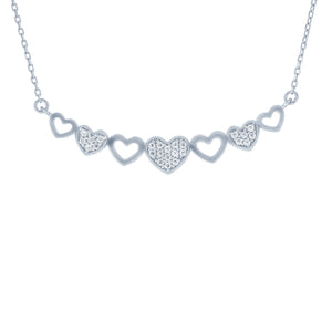 (100065) White Cubic Zirconia Hearts Necklace In Sterling Silver