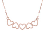 (100066A) Hearts Necklace In Sterling Silver and Rose Gold Plate