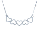 (100066) Hearts Necklace In Sterling Silver