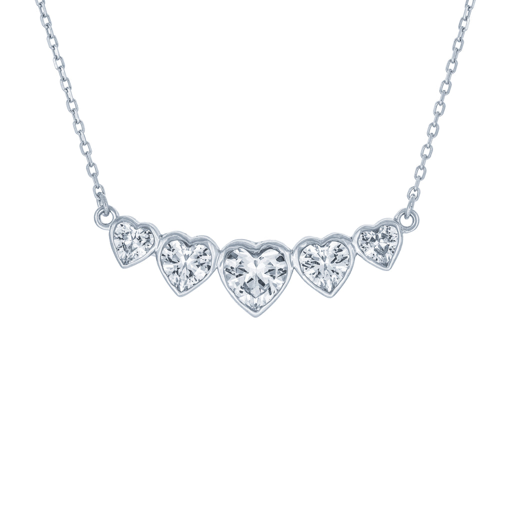 (100067) White Cubic Zirconia Hearts Necklace In Sterling Silver