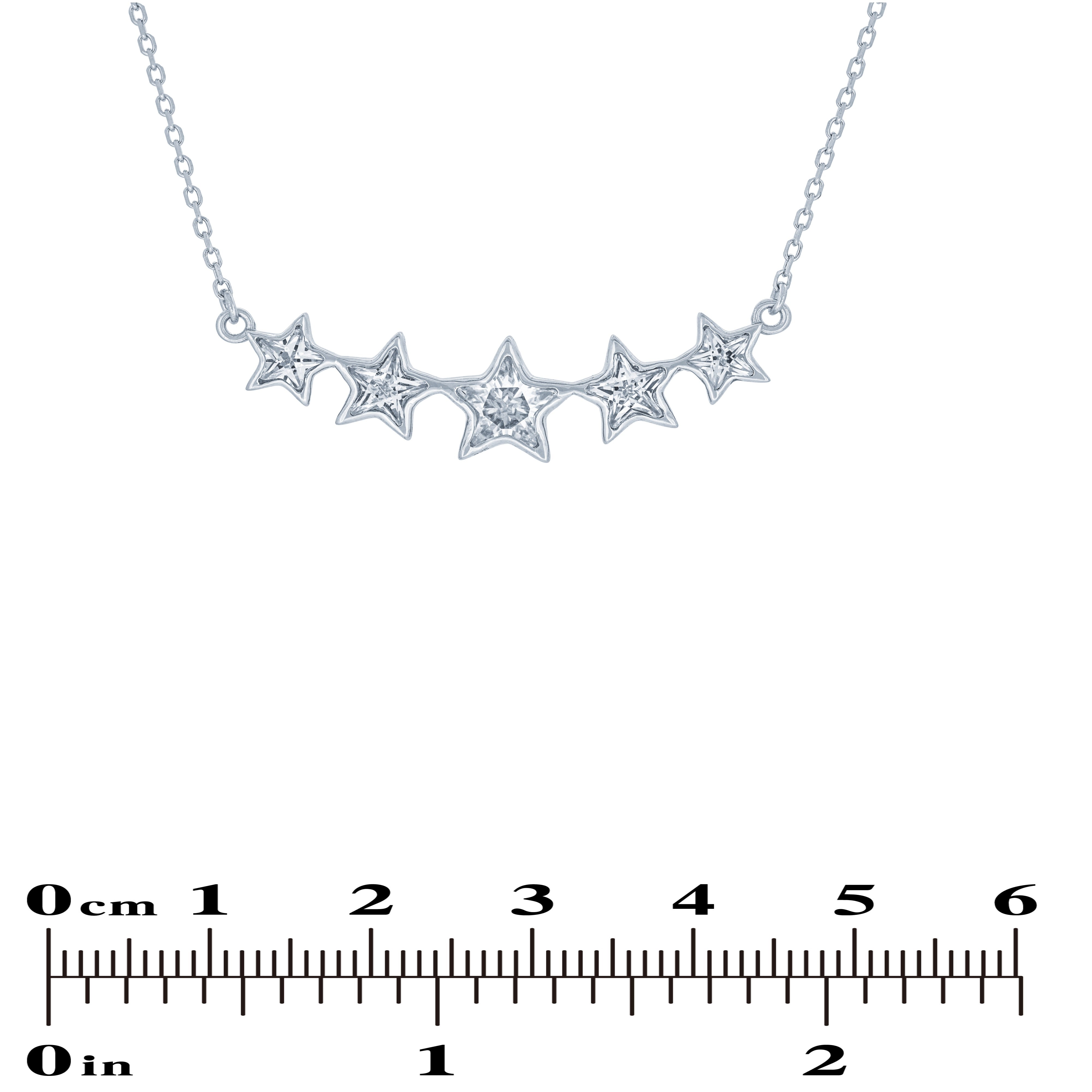 (100068) White Cubic Zirconia Stars Necklace In Sterling Silver