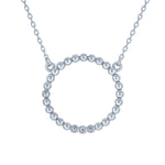 (100069) Circle White Cubic Zirconia Necklace In Sterling Silver