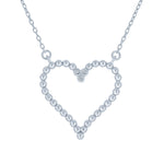 (100070) White Cubic Zirconia Heart Necklace In Sterling Silver