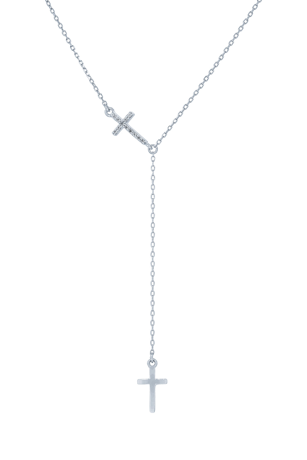 (100071) White Cubic Zirconia Cross Necklace In Sterling Silver