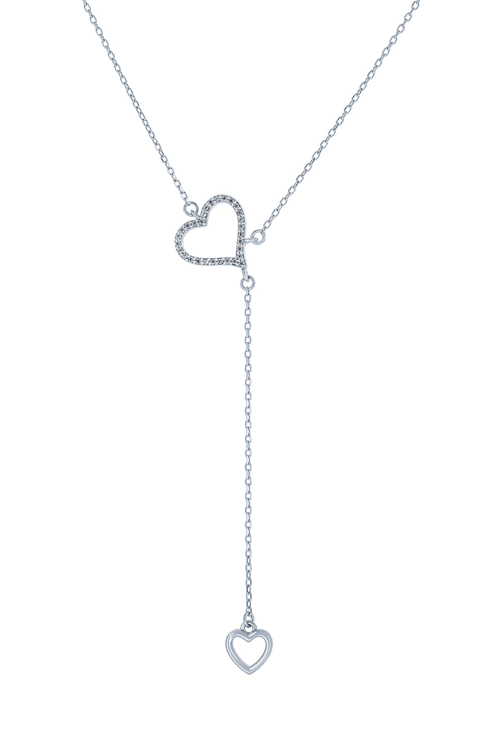 (100072) White Cubic Zirconia Hearts Necklace In Sterling Silver