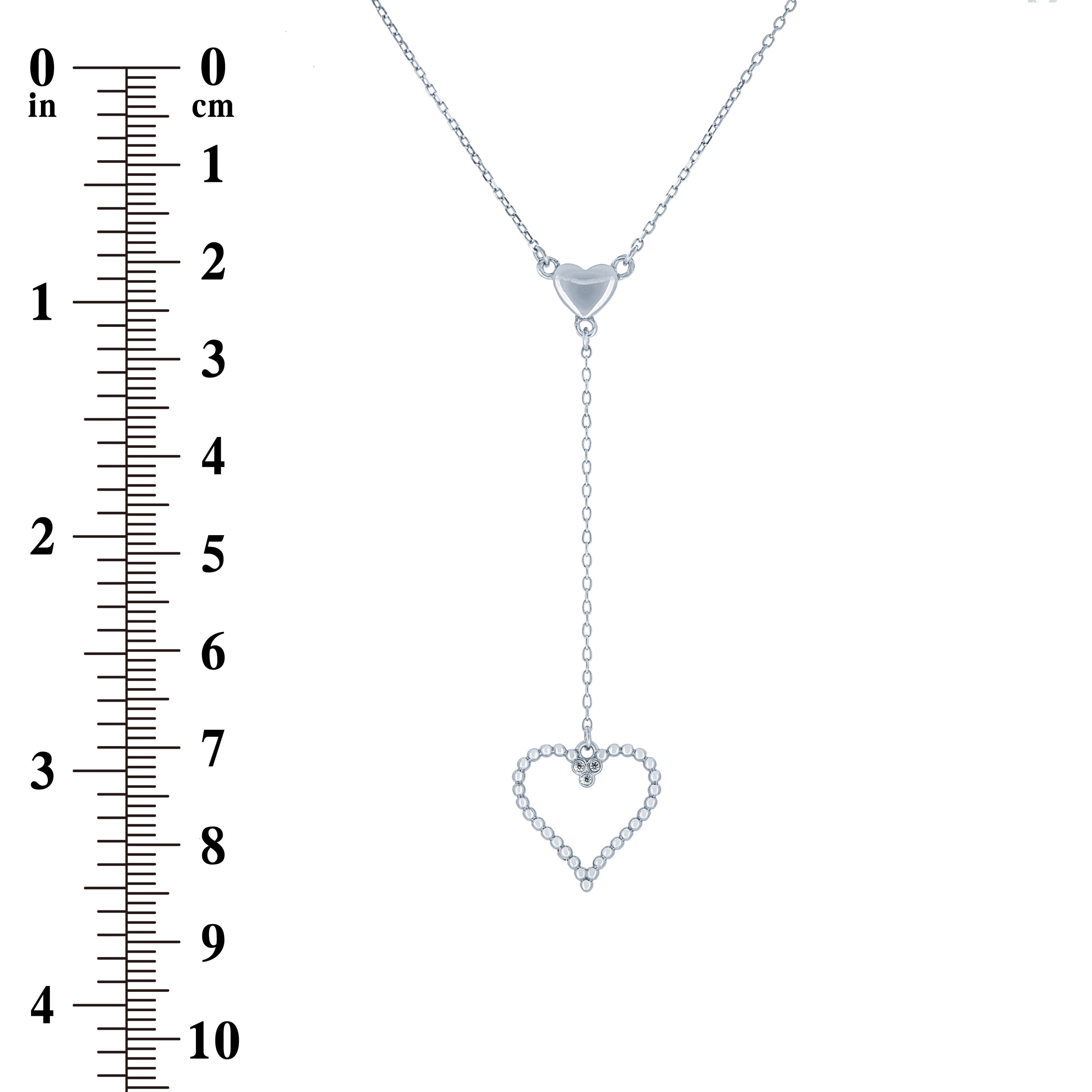 (100073) White Cubic Zirconia Hearts Necklace In Sterling Silver
