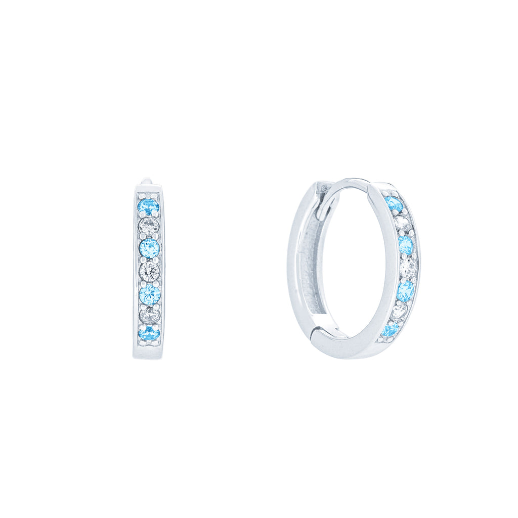 (100075) Simulated Aquamarine & White Cubic Zirconia 15mm Hoop Earrings In Sterling Silver
