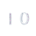 (100076) Simulated Pink Sapphire & White Cubic Zirconia 15mm Hoop Earrings In Sterling Silver