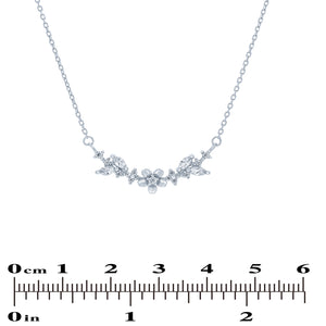 (100079) White Cubic Zirconia Flower Necklace In Sterling Silver
