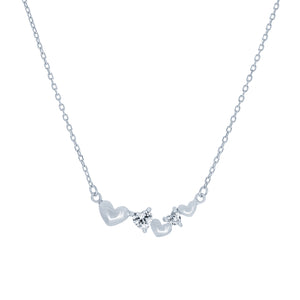 (100080) White Cubic Zirconia Hearts Necklace In Sterling Silver