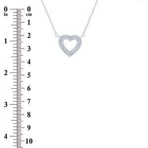 (100081) White Cubic Zirconia  Double Layers Hearts Pendant Necklace In Sterling Silver