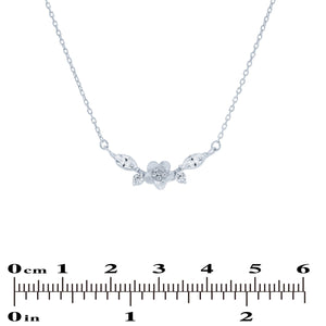 (100082) White Cubic Zirconia Flower Necklace In Sterling Silver